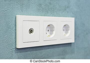 Wall tv socket on the wall