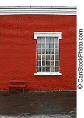 Wall, window and benc