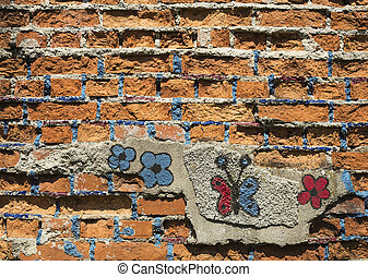 Wall with a butterfly