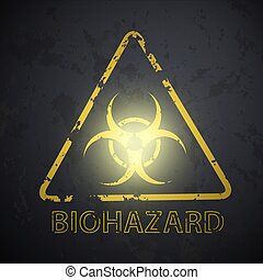 wall with a picture of the biohazard symbol