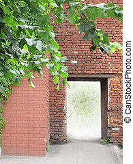 wall with an aperture for the exit