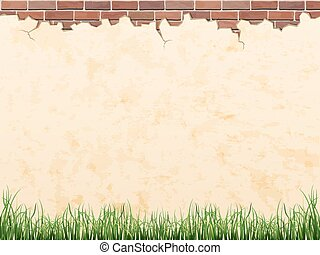 Wall with brick and grass - vector background