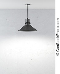 wall with ceiling lamp