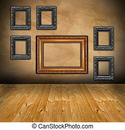 wall with composition of empty frames