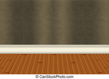 Wall with Harwood Floor - Hardwood flooring with green...