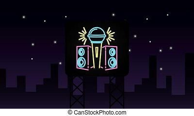 wall with neon light karaoke label ,4k video animation