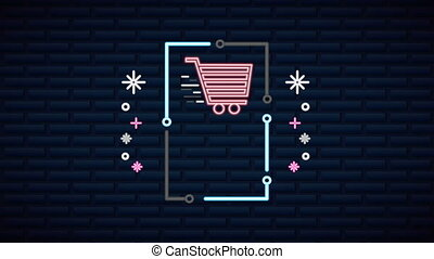 wall with neon light shopping cart ,4k video animation