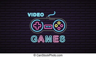 wall with neon light video game control ,4k video animation