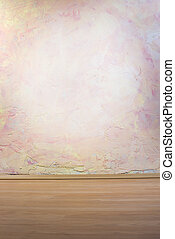 Wall with pink and yellow texture