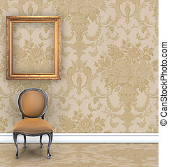 Room with tan damask wallpaper, a velvet chair, and an empty gold picture frame with room for text