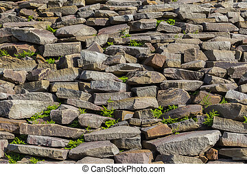 Wall with rough stones