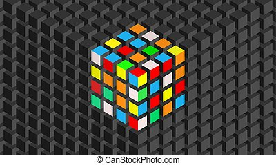 Wall with Rubik's Cube effect. - Trendy widescreen geometric...