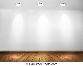 Wall with spotlights and wooden floor. Showroom concept. ...