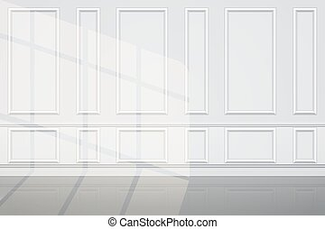 Interior of White Wall of luxury apartments with sunlight. Decorative panels on the wall. Modern room concept in light style. Vector Illustration.