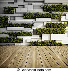 Wall with vertical gardens - Interior of decorative concrete...