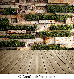 Wall with vertical gardens - Interior of decorative stone...