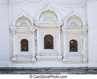 wall with windows of ancient church