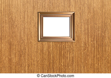 wall wood texture with isolated wood picture frame