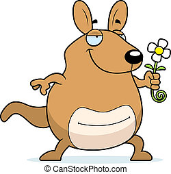 wallaby, flor, caricatura