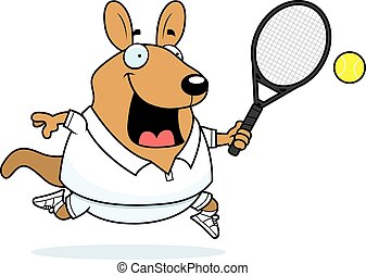 wallaby, tennis, spotprent