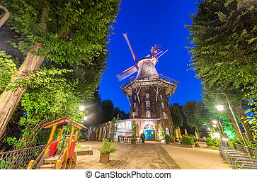 Wallanlagen windmill in Bremen at night, Germany