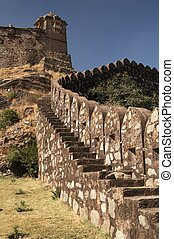Walled Fortress - Massive ramparts of Kumbhalgarh Fort with...