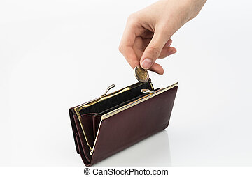 wallet and coin - an empty purse and a hand which holds a...