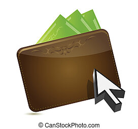 wallet and cursor buying concept