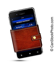 wallet and mobile phone with mobile payment screen over...