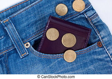 Wallet and small money are lying in side pocket of blue jeans.