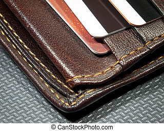 Wallet corner - Detail of a leather wallet with credit cards...