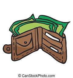 wallet full of money cartoon illustration