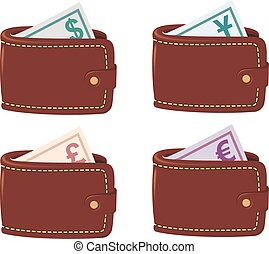 Wallet full curancy - Four brown wallet full currency with...