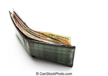Wallet full of Indonesian rupiah money