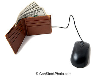 Wallet full of money with mouse - Wallet full of money, with...