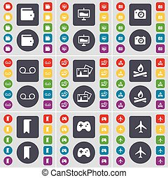 Wallet, Graph, Camera, Cassette, Picture, Campfire, Marker, Gamepad, Airplane icon symbol. A large set of flat, colored buttons for your design. Vector