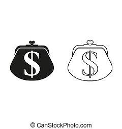 wallet - green vector icon