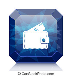 Wallet icon, blue website button on white background.