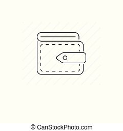 Wallet icon isolated. Single thin line symbol of purse
