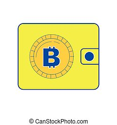 Wallet icon vector illustration with bitcoin