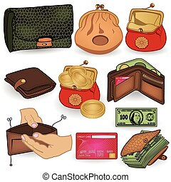 wallet icons - collection of different wallet colored icons.