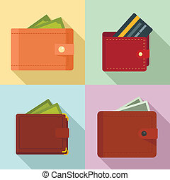 Wallet icons set, flat style