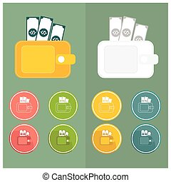 Wallet Icons Simple Pink green yellow blue white orange dollar vector