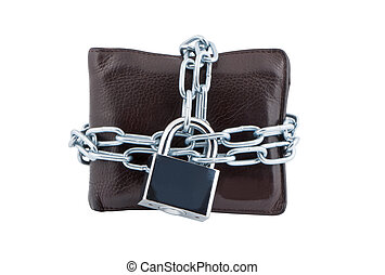Wallet in chains closed padlock isolated on white background.