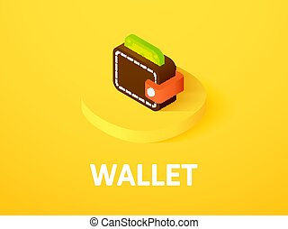 Wallet isometric icon, isolated on color background