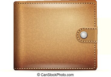 Wallet - Leather wallet on a white background.