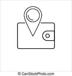 wallet location icon on white background Vector