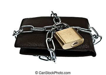 Leather wallet locked with chain