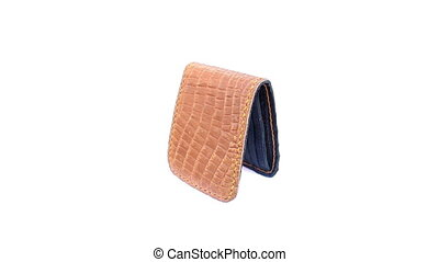 wallet of leather rotating on isolated