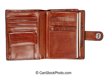 Wallet - Opened leather wallet isolated on white background